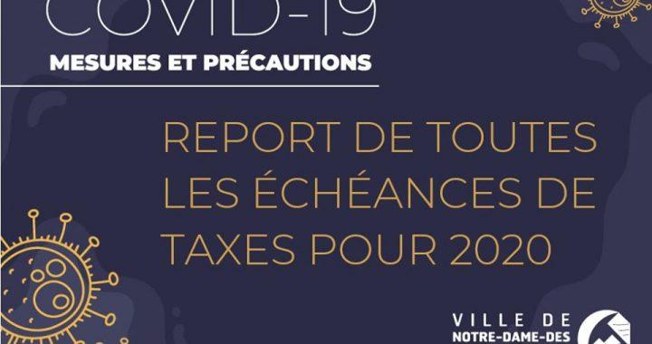 Mesures spéciales Covid-19 : Notre-Dame-des-Prairies reporte toutes ses échéances de taxes pour 2020