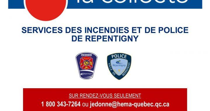 Collecte de sang des pompiers et des policiers de Repentigny