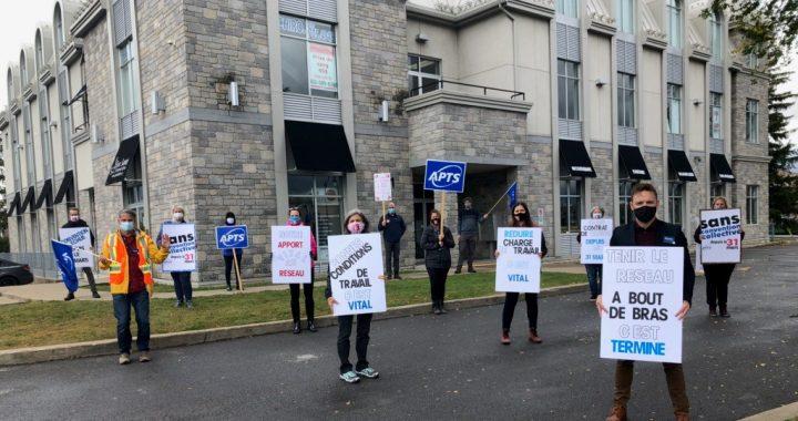 Les membres de l'APTS manifestent leur impatience dans Lanaudière