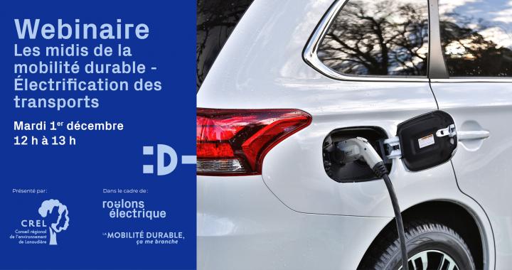 Les midis de la mobilité durable : deuxième webinaire de la série le 1er décembre